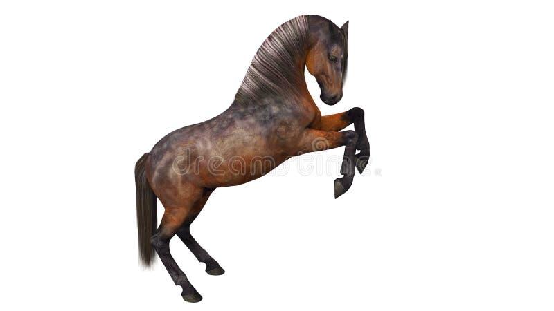 Häst som kråma sig, traskat djur på vit vektor illustrationer