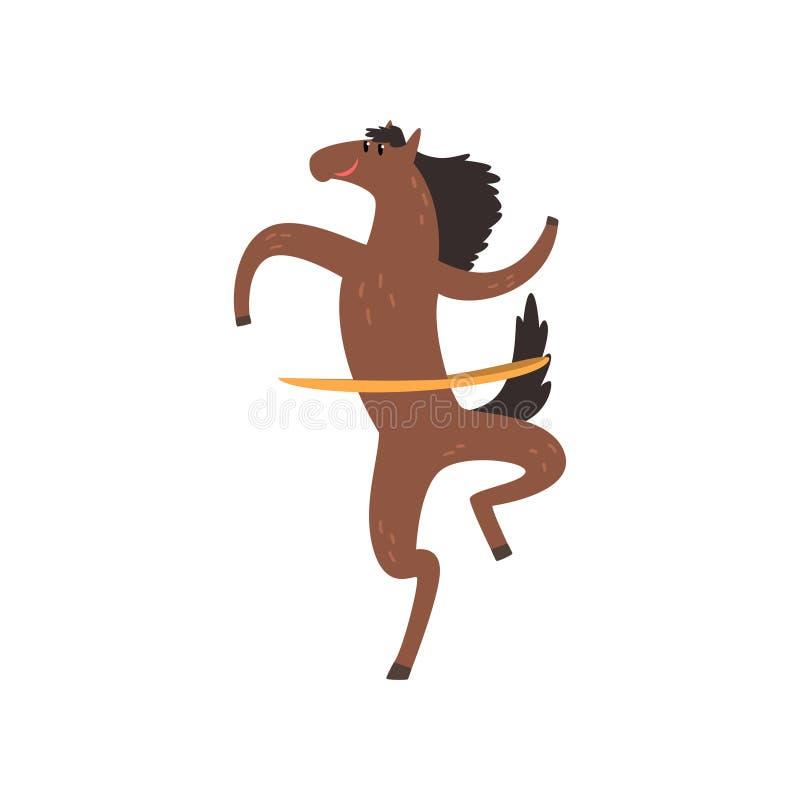 Häst som rotera ett hulabeslag, roligt sportive tecken för löst djur som gör sportvektorillustrationen på en vit bakgrund stock illustrationer