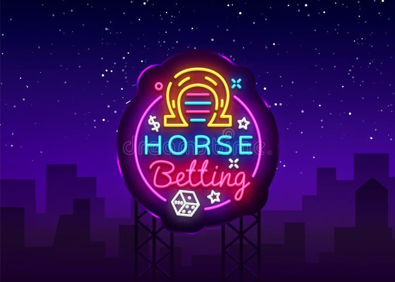 Häst som slå vad logo i neonstil Häst som slå vad vektorn för neontecken, designbeståndsdel Slå vad sportar, hästkapplöpningsymbo vektor illustrationer