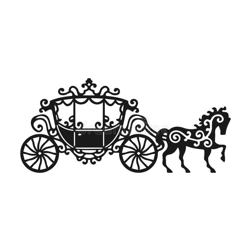 Häst-vagn kontur med hästen Vektorillustration av broughamen i barock stil Tappningvagn som isoleras på den vita backgroen royaltyfri illustrationer