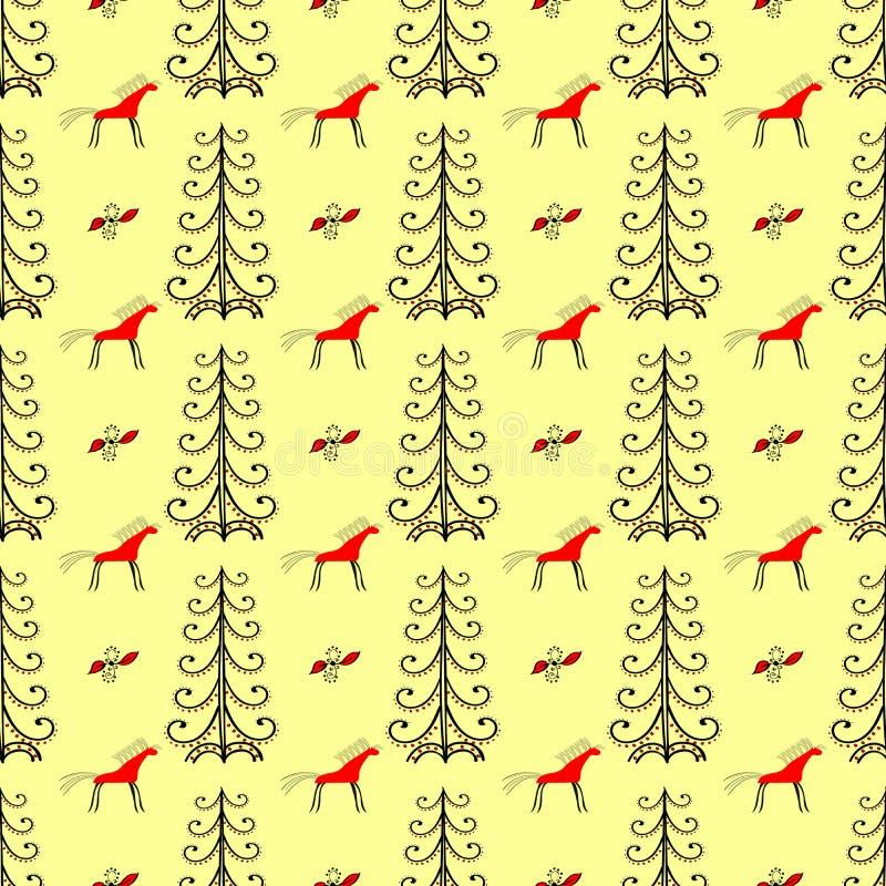 Hästar i skogen bland sömlös modell för granträd vektor illustrationer