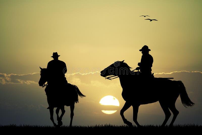Hästar på solnedgången royaltyfri illustrationer