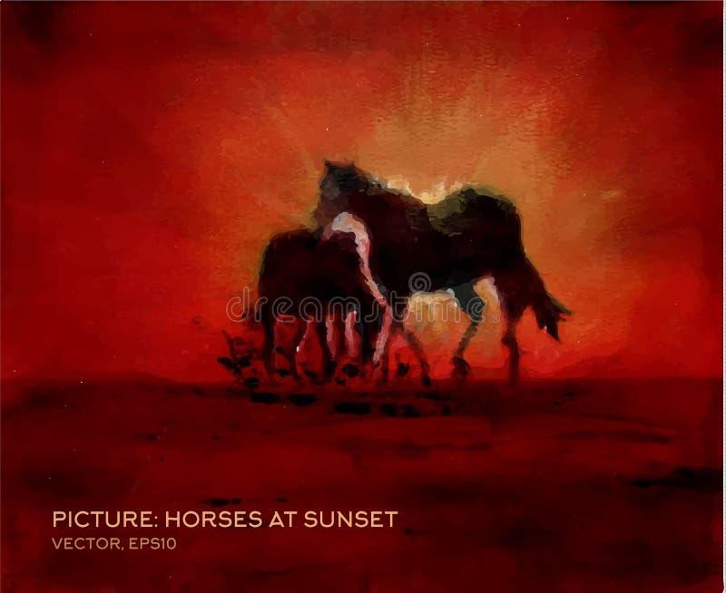 Hästar på solnedgången, olje- målning på silke i vektor royaltyfri illustrationer