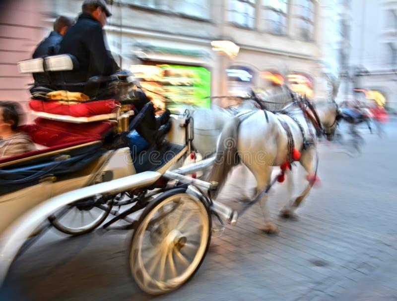 Hästdragen vagn arkivfoto