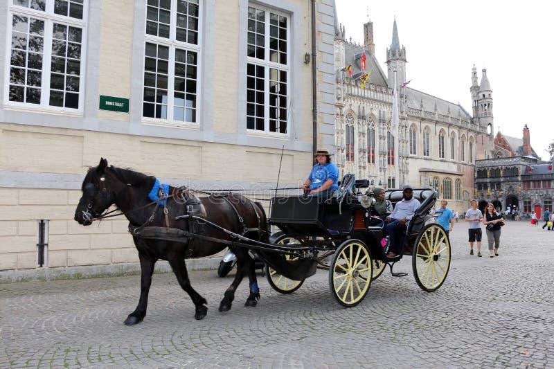 Hästdragna vagnar i Bruges, Belgien royaltyfria foton