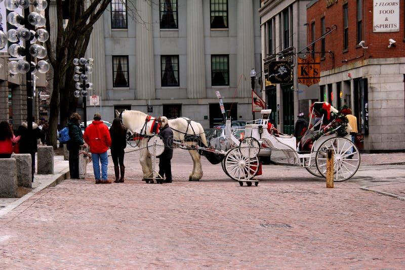 Hästdrawmvagn och biljettpris, Boston, mass, 2014 royaltyfria bilder
