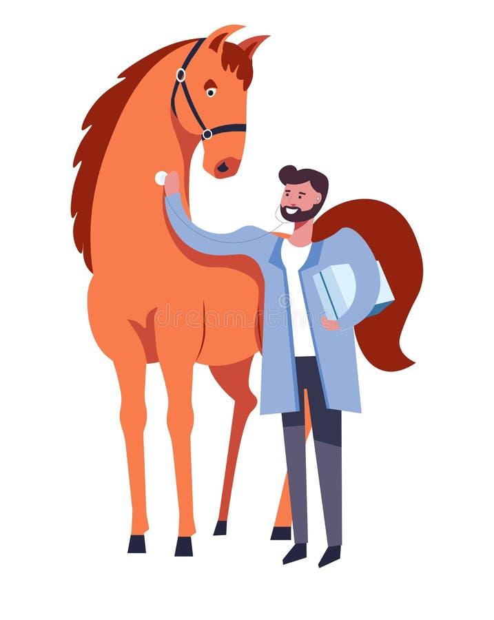 Hästen och veterinären man att att bry sig för djur vektor royaltyfri illustrationer
