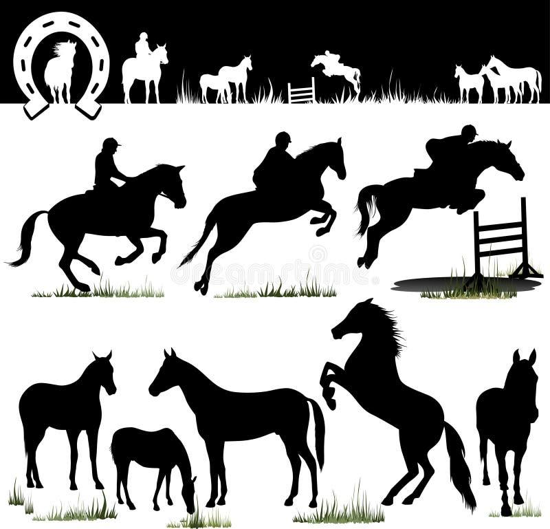 hästen silhouettes vektorn vektor illustrationer