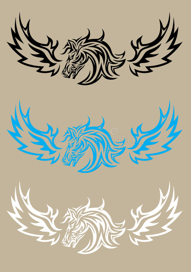 Hästhuvud med vingen stock illustrationer