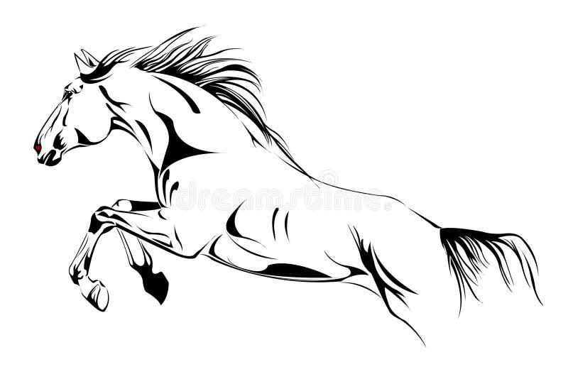 hästillustrationhopp vektor illustrationer