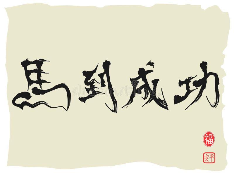 Hästkalligrafi, kinesiska tecken som att uppnå omedelbara Suc stock illustrationer