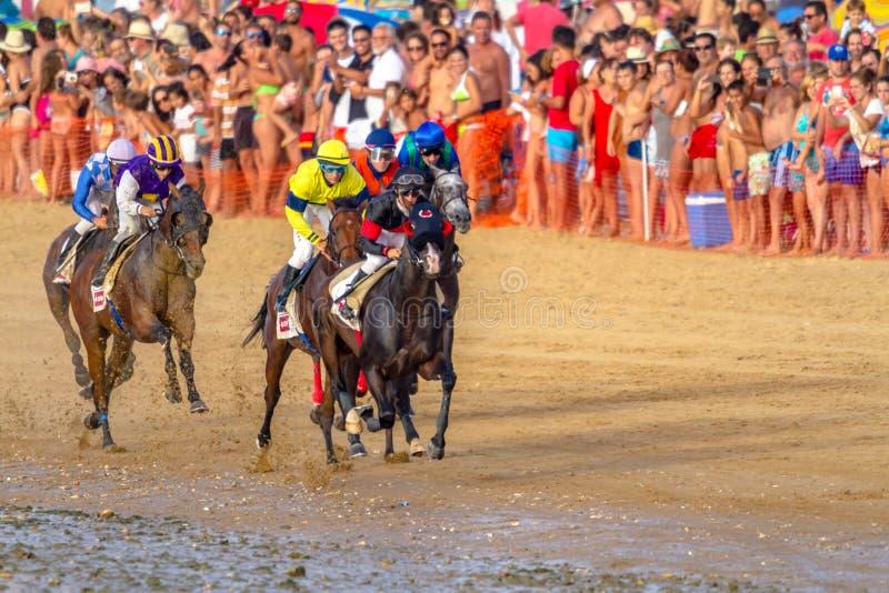 Hästkapplöpning på Sanlucar av Barrameda, Spanien, 2016 royaltyfri bild