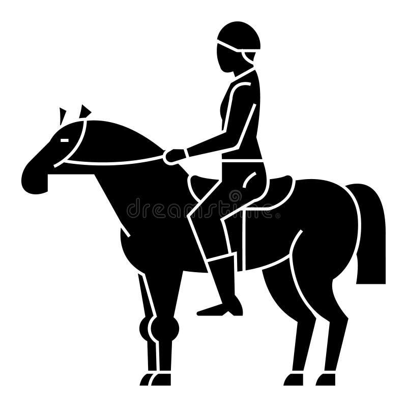 Hästkapplöpning - ryttare - skicklig ryttare - jockeysymbol, vektorillustration, svart tecken royaltyfri illustrationer