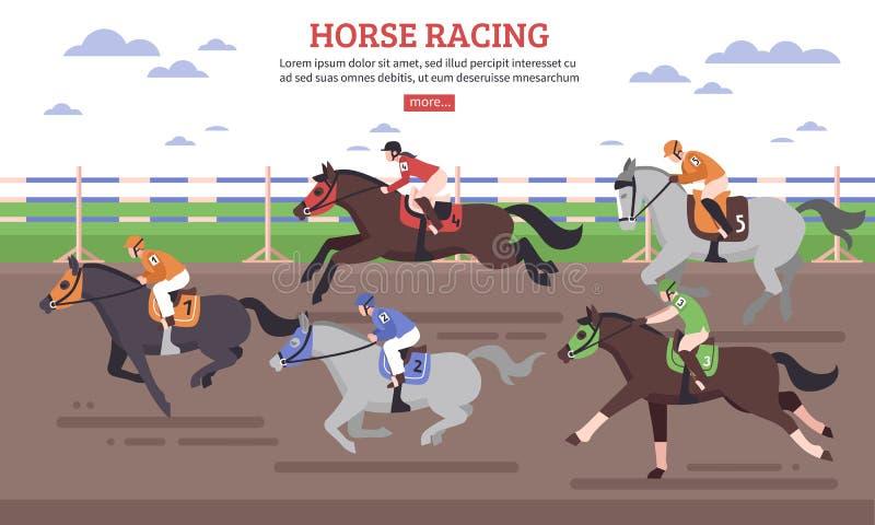 Hästkapplöpningillustration vektor illustrationer