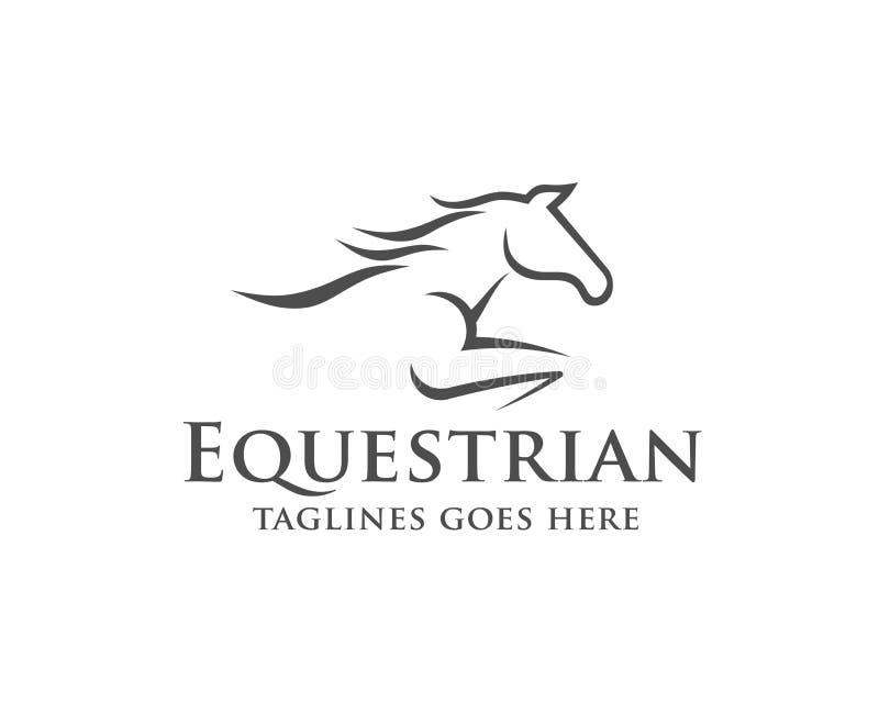 Hästkapplöpninglogomall vektor illustrationer