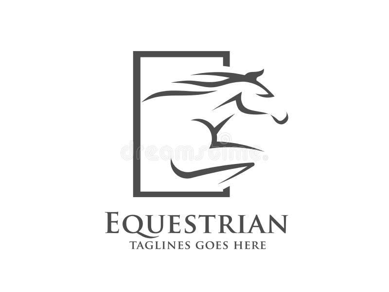 Hästkapplöpninglogomall, rid- logo stock illustrationer