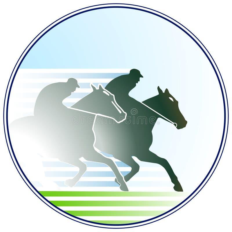 hästkapplöpningtecken stock illustrationer