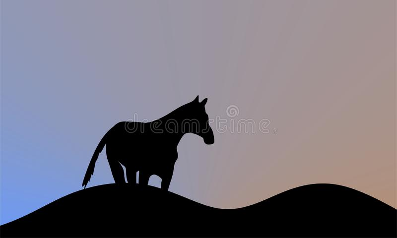 Hästkonturn är en vektorillustration stående hästframdel av soluppgång stock illustrationer