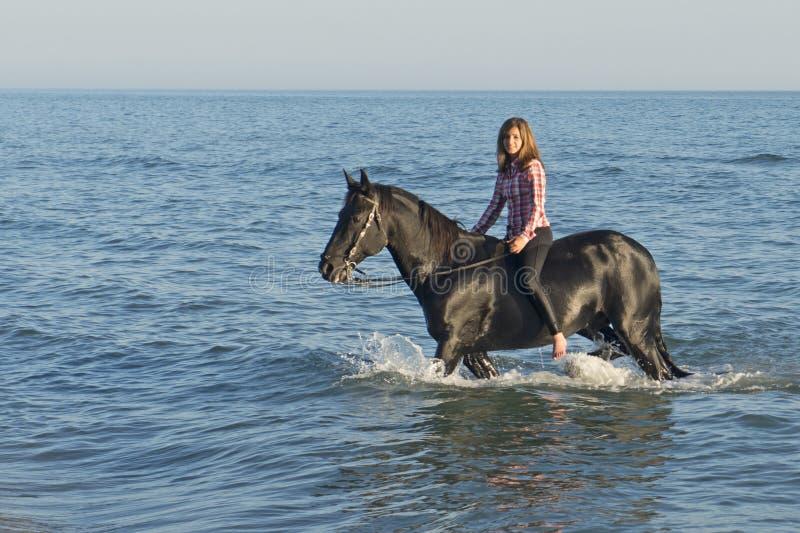 Hästkvinna i havet royaltyfri fotografi