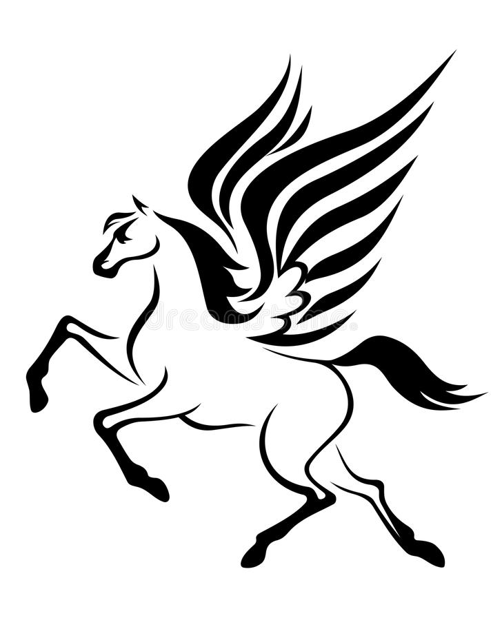 hästpegasus vingar stock illustrationer