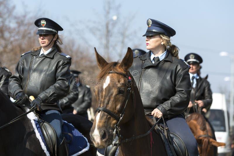 Hästpolisridning arkivfoto