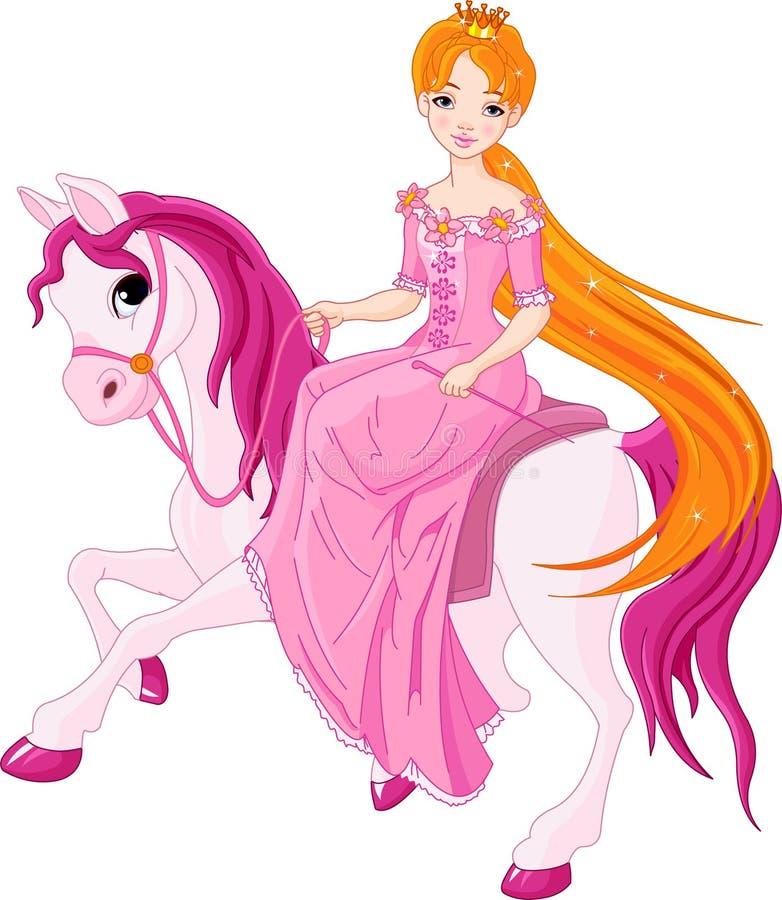 hästprincessridning royaltyfri illustrationer