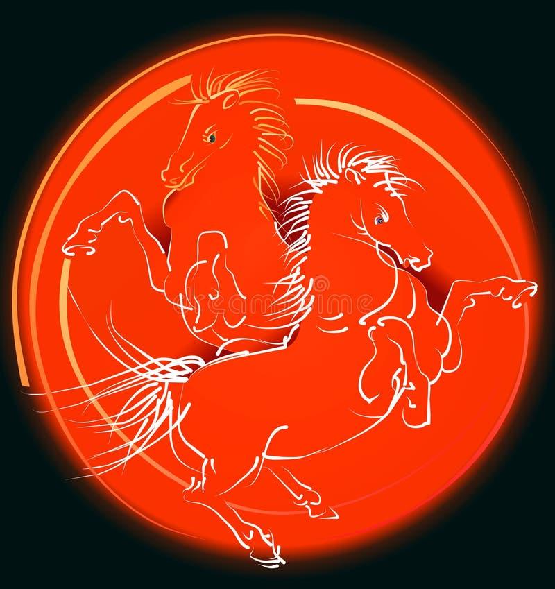 hästredvektor royaltyfri illustrationer