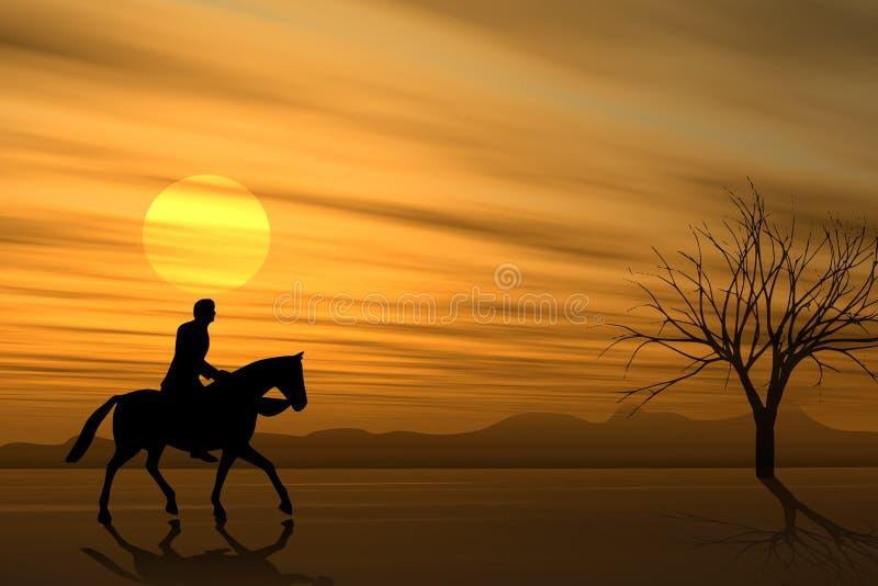 hästryggrittsolnedgång royaltyfri illustrationer