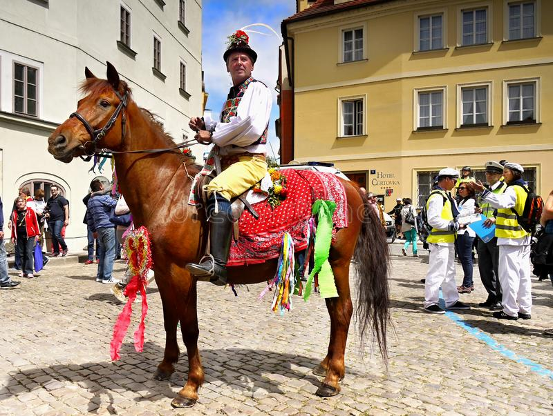 Hästryttare, Prague gammal stad, Tjeckien arkivfoton