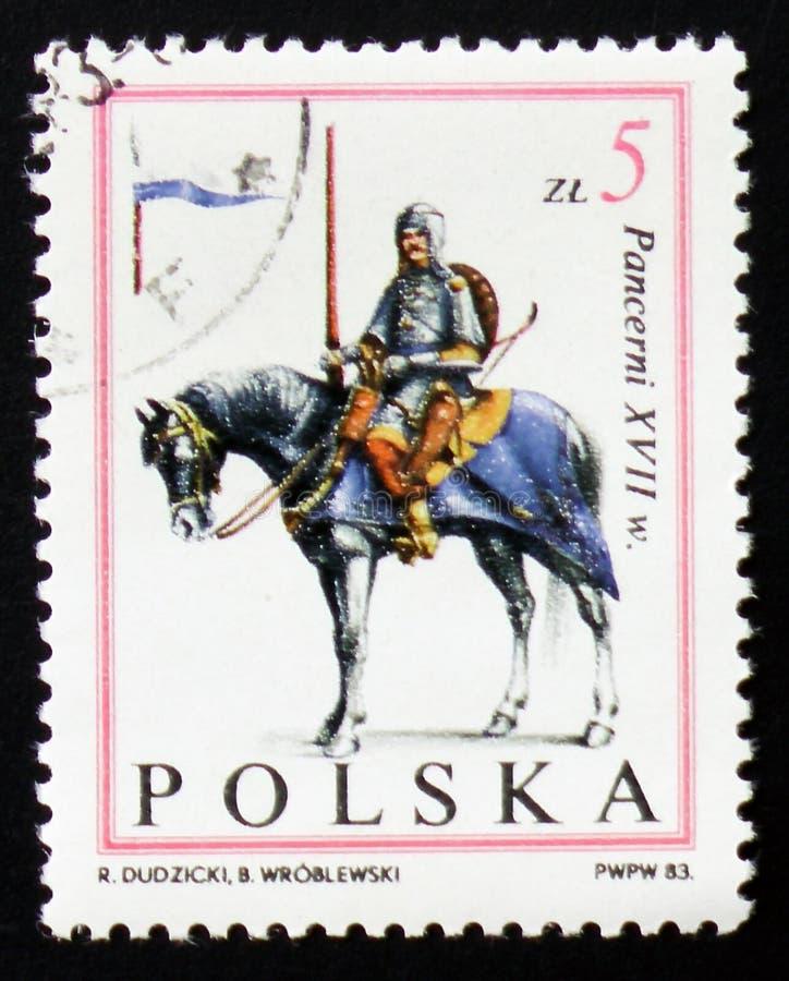Hästryttare, riddare, XVII århundrade, circa 1983 royaltyfria foton