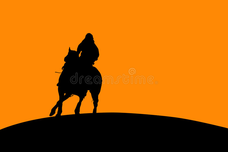 hästryttaresilhouette royaltyfri illustrationer