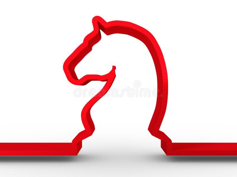 Hästschacksymbol stock illustrationer