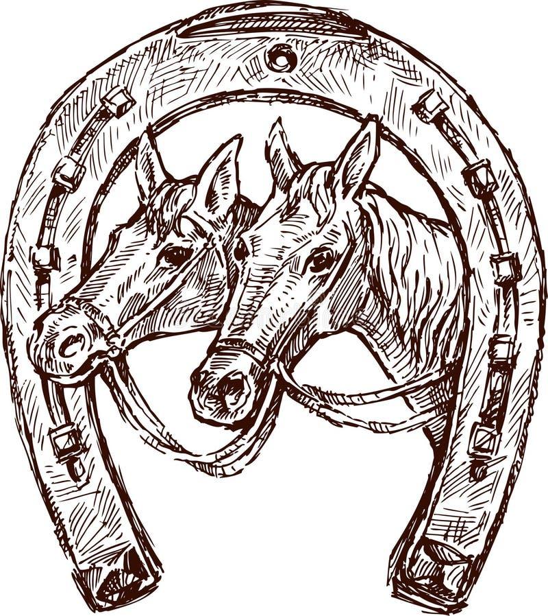 hästsko vektor illustrationer