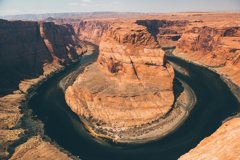 Hästskokrökningen är en berömd slingringar på floden Colorado arkivfoton