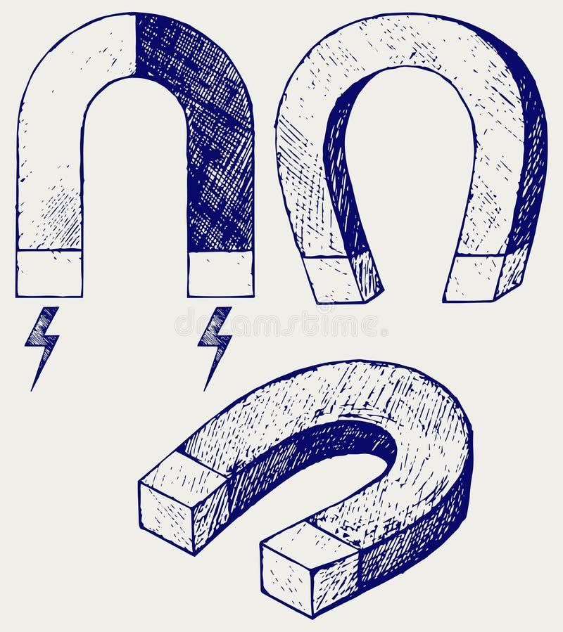 Hästskomagnet vektor illustrationer