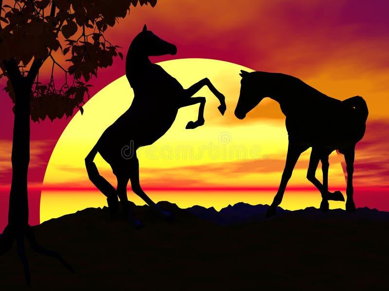 hästsolnedgång stock illustrationer