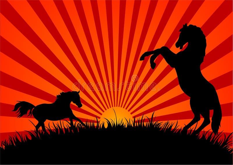 hästsolnedgång två vektor illustrationer