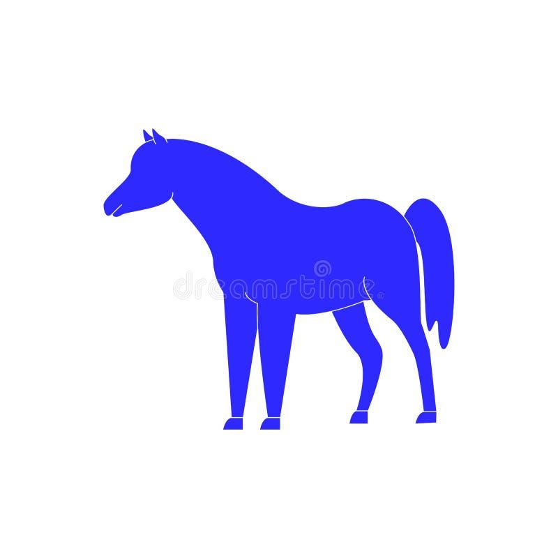Hästsymbol i blå färg vinnaren stock illustrationer