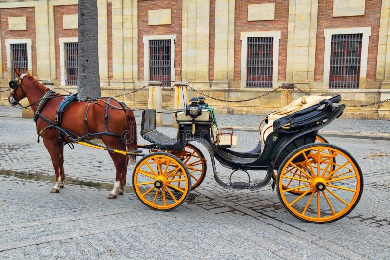 Hästvagn framme av den Seville domkyrkan royaltyfri fotografi