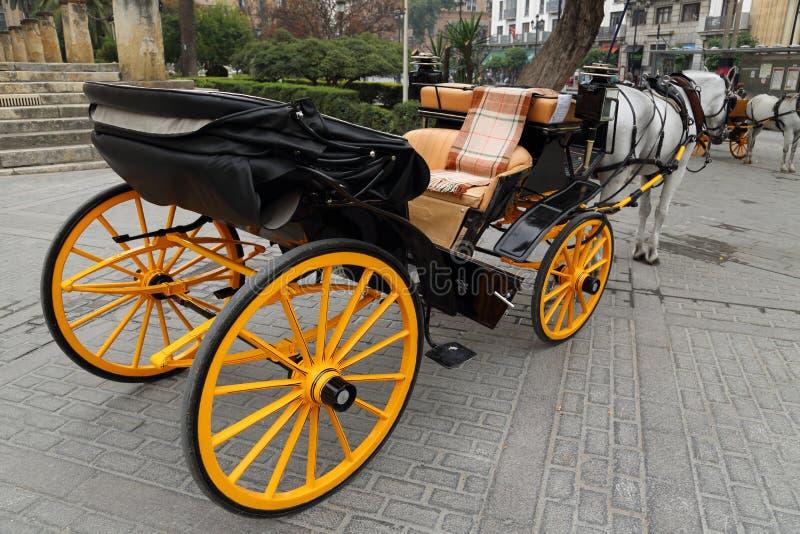 Hästvagn framme av den Seville Santa Maria domkyrkan royaltyfri fotografi