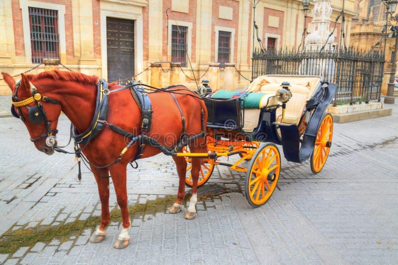 Hästvagn framme av den Seville Santa Maria domkyrkan royaltyfria foton