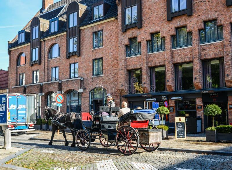 Hästvagn i Bruges Brugge, Belgien arkivfoto