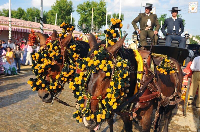 Hästvagn i den Seville mässan, Andalusia, Spanien royaltyfria foton
