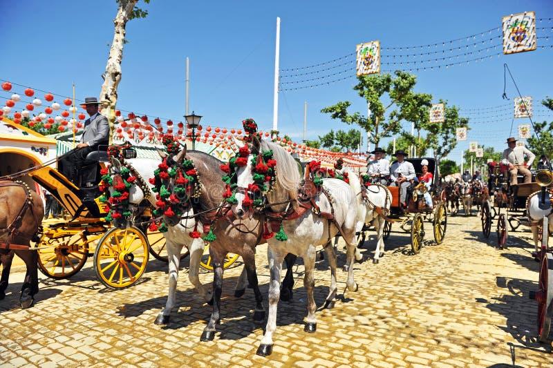 Hästvagn, mässa i Seville, Andalusia, Spanien arkivfoto