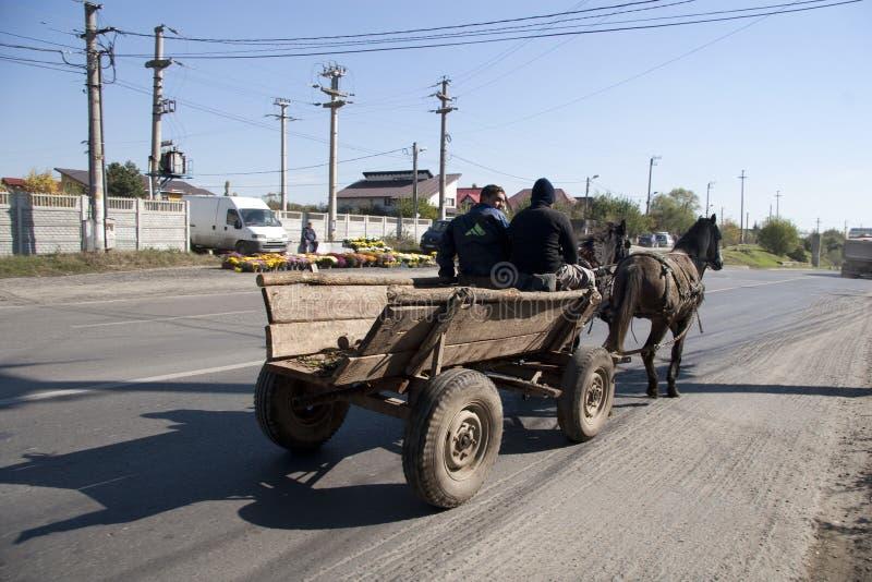 Hästvagn med gipsyen arkivfoto