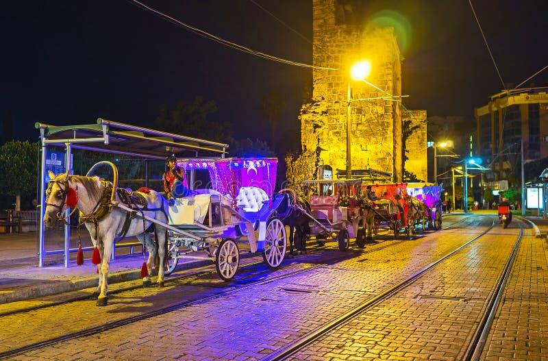 Hästvagnar i aftonen Antalya, Turkiet arkivbild