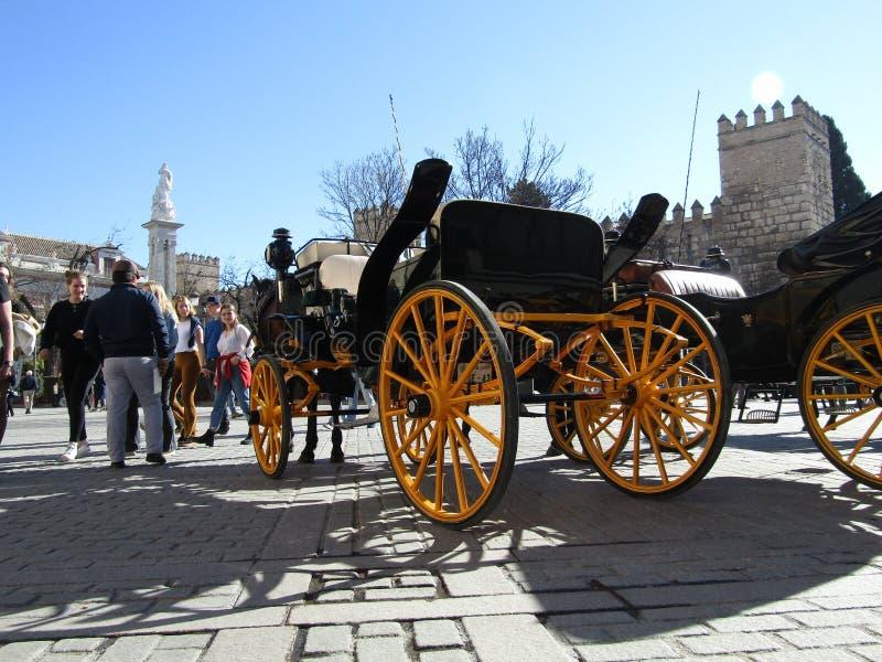 Hästvagnar i Sevilla, Spanien royaltyfria foton