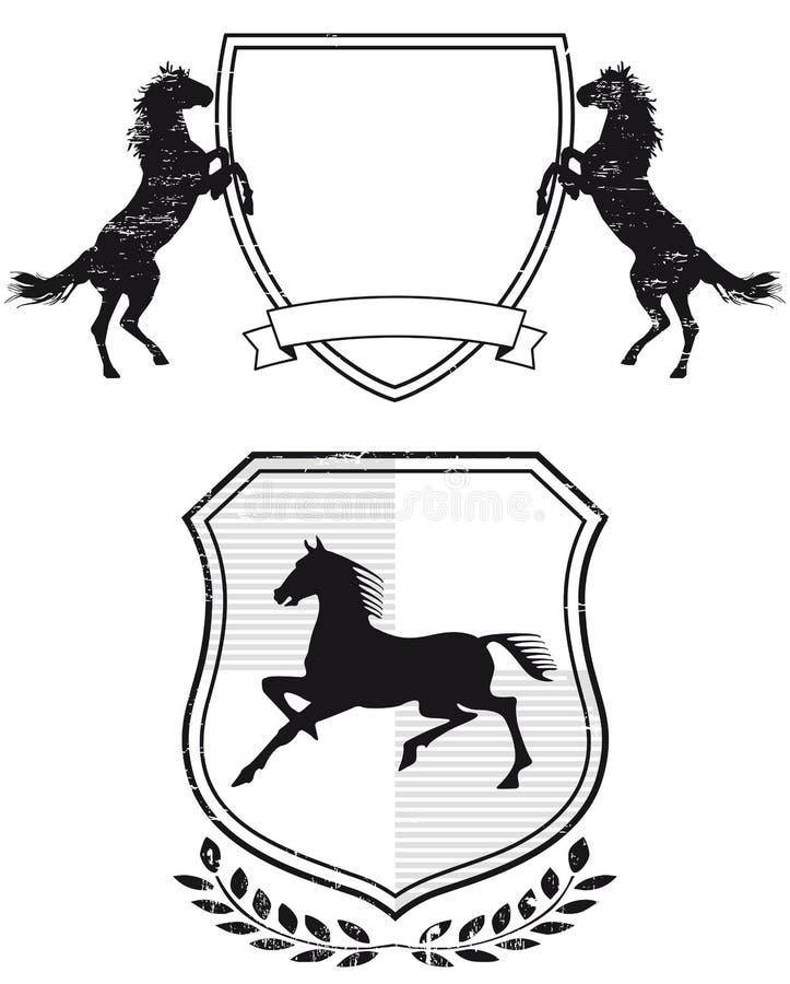 Hästvapensköld royaltyfri illustrationer