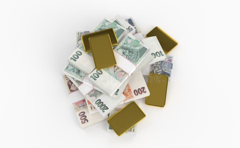 Häufen Sie nationales Geld tschechischen Krone ceska Koruna in der Tschechischen Republik an Wenn der goldener Stange oder Ziegel stock abbildung