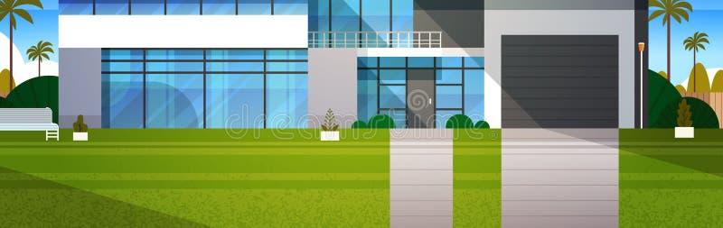 Häuschen-Haus-horizontale außenfahne Real Estate im Vorort gestalten landschaftlich vektor abbildung
